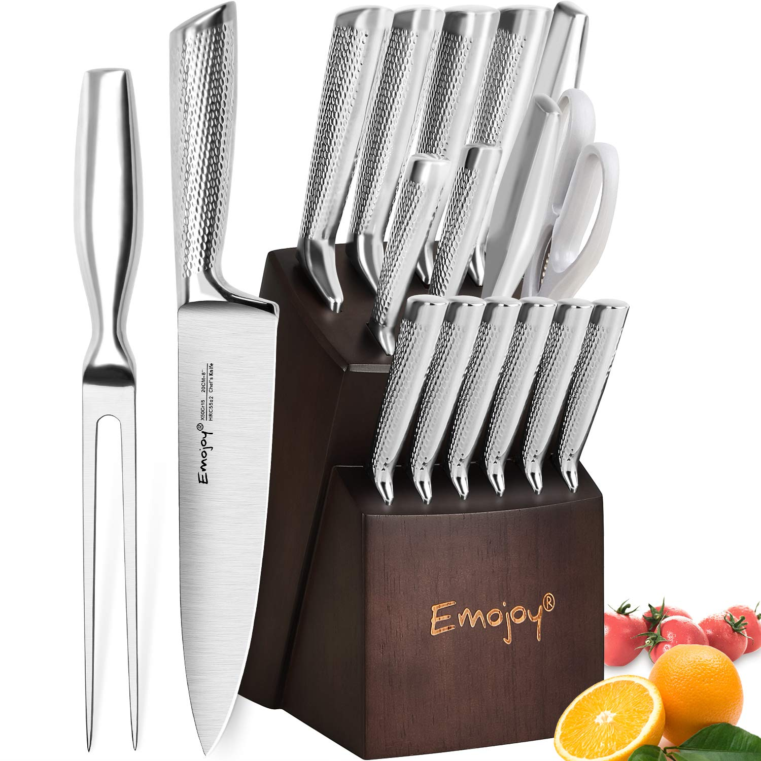 Knife Set, Emojoy 16-PCS Kitchen Knife Set with Carving Fork, Ripple Stainless Steel Hollow Handle for Chef Knife Set with Wooden Block, Perfect Cutlery Set Gift by emojoy