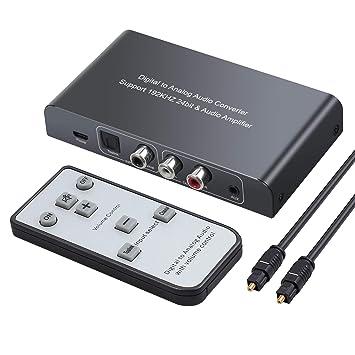 DAC Converter 192 kHz Convertidor de Audio Digital a Analógico con Control Remoto Toslink Digital Coaxial a Estéreo Analógico L / R RCA Jack 3,5 mm Con ...