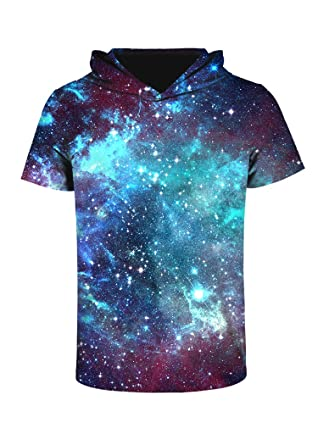 7eed2ec61585 sanatty 3D Printed Pullover Sweatshirt Hoodie Short Sleeve Casual T Shirt  Galaxy Space Creative Graphic Hooded Shirts at Amazon Men s Clothing store