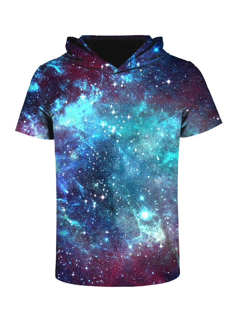 sanatty 3D Printed Pullover Sweatshirt Hoodie Short Sleeve Casual T Shirt Galaxy Space Creative Graphic Hooded Shirts