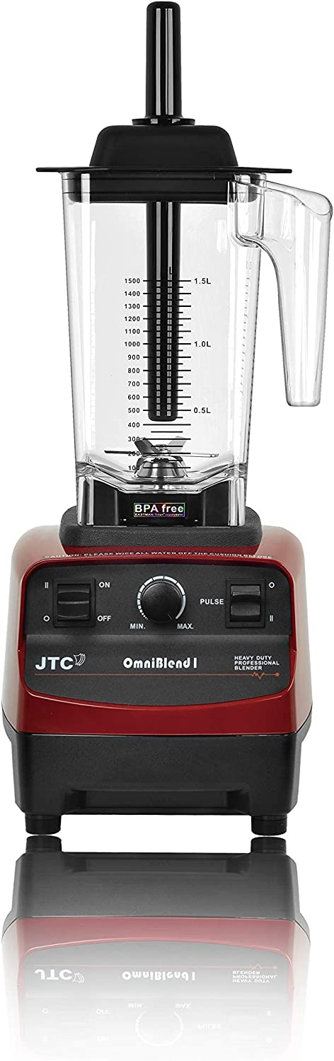 OmniBlend I Commercial Blender for Smoothies, Heavy Duty Variable Speed & Pulse, Self-Cleaning, 2-in-1 Wet Dry Multifunctional, 1.5 Liter BPA-Free Shatter-Proof Jar (Maroon)