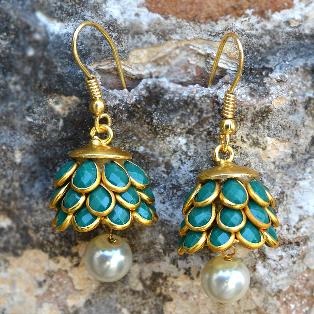 Silvestoo Jaipur Green Onyx /& Off White Pearl Gold Plated Dangle Earring PG-131903