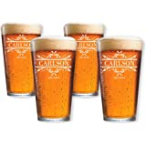 Personalized Beer Pint Glasses Set of 4 by Froolu Customized Beer Glasses For Housewarming, Wedding, Anniversary Gifts