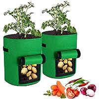 LdawyDE Bolsa Cultivo, 2 Piezas macetas Tela, Bolsa de Cultivo de Plantas, con Ventana y asa, de Fieltro, Funciones…