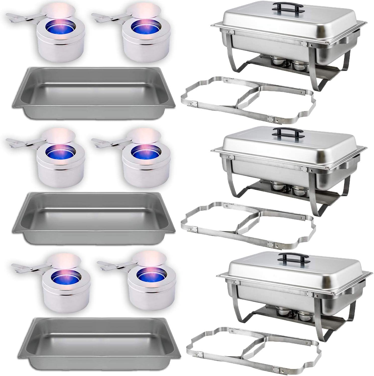 Chafing Dish Buffet Set With Folding Frame + Water Pan + Food Pan (8 qt) + 6 Fuel Holders – 3 Full Warmer Kit