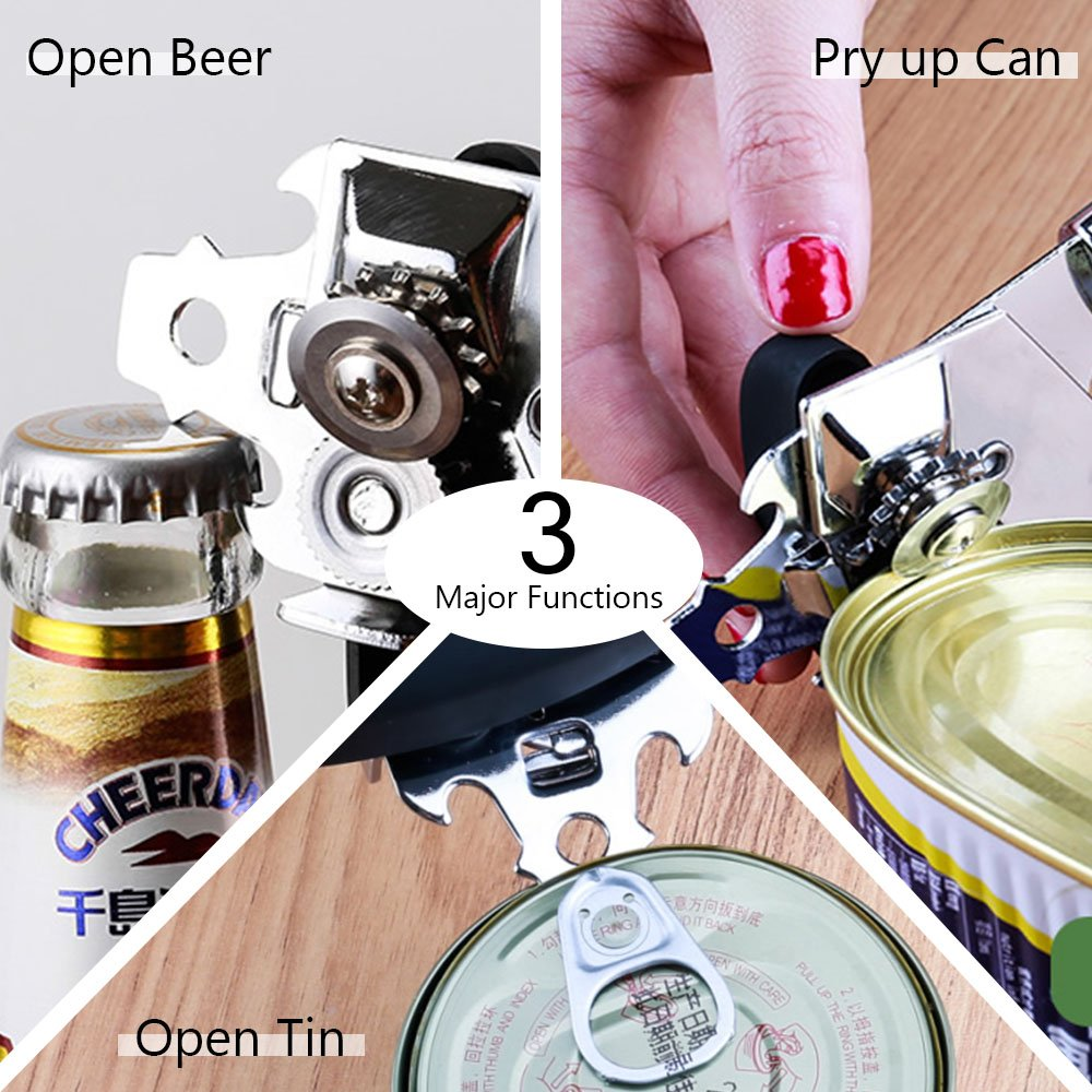 Can Opener Manual Heavy Duty Metal Tin Bottle Opener Kitchen/ Gadget/ Tools for Camping Picnic /& Travel Black by PROKITCHEN