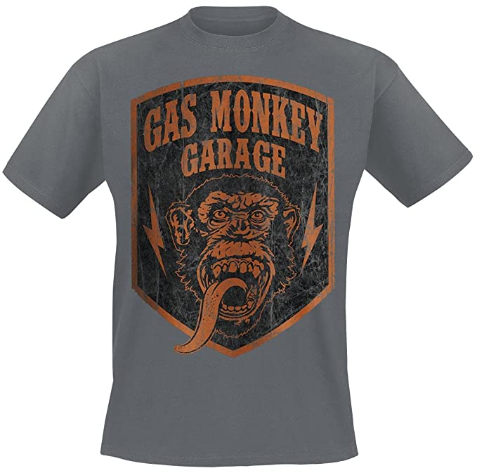 Gas Monkey Garage GMG Monkey Crest Camiseta Gris Marengo: Amazon.es: Ropa y accesorios