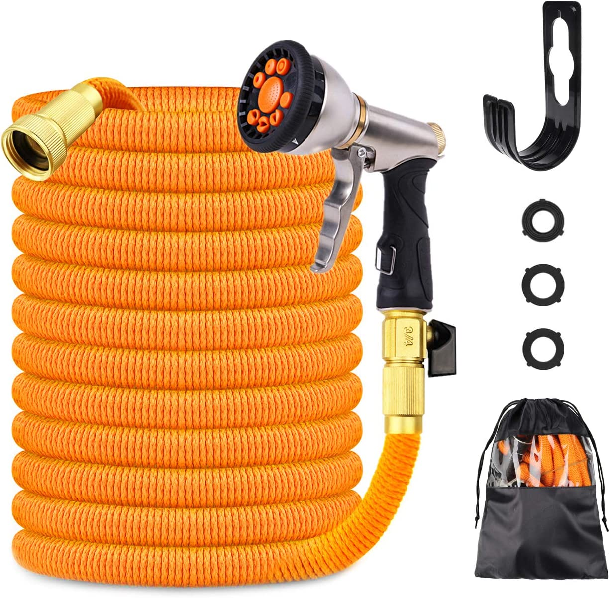 "Nefeeko Garden Hose,50ft Expandable Garden Hose with 9 Functions Alloy Nozzle, Flexible Lightweight Water Hose Pipe Heavy Duty with 3/4"" Solid Brass Fittings for Watering Washing"