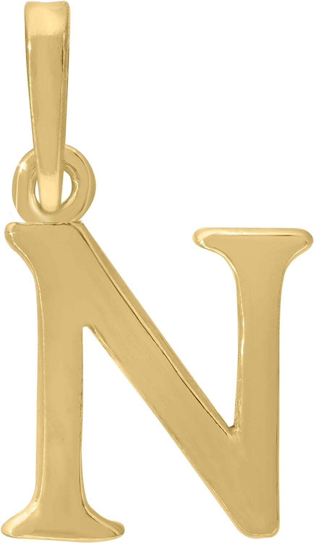 FB Jewels 925 Sterling Silver Yellow-Tone Mens Women Initial N Charm Pendant