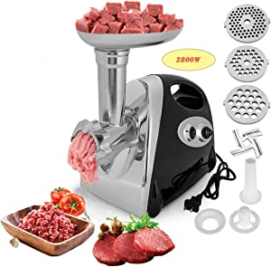 Electric Meat Grinder Stainless Steel Meat Slicer & Sausage Stuffer 【2800W Max】,with 3 Grinding Plates,Stainless Steel Housing,ETL Approved, Easy to Clean (Black (2800W MAX))