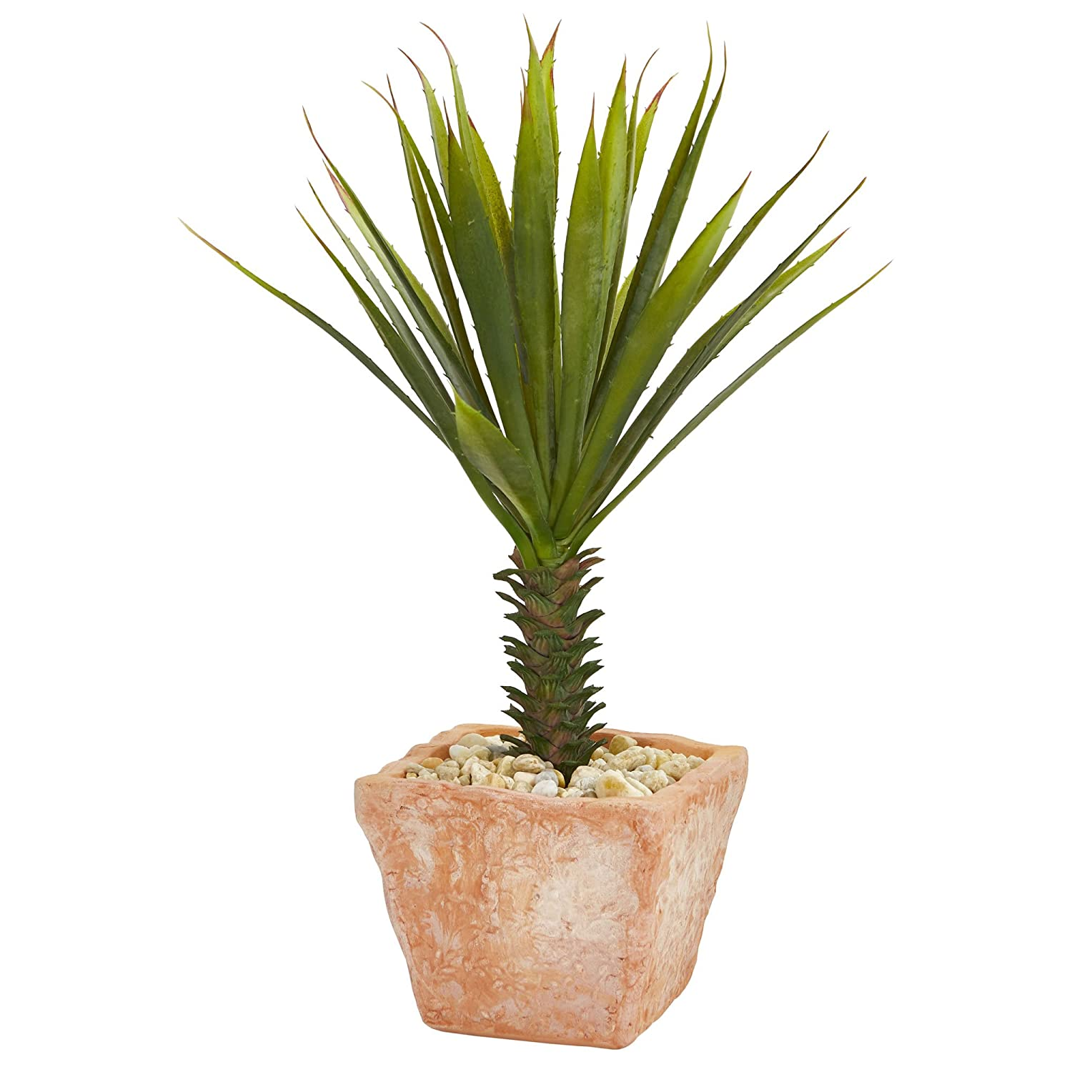 Green Nearly Natural 8077 Spiky Agave Artificial Terracotta Planter Silk Plants