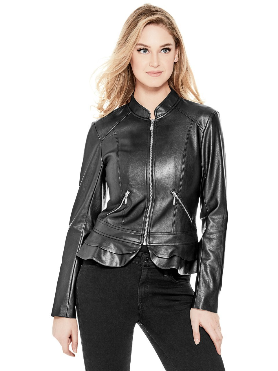 Guess Women's Long Sleeve Kate Flirty Pu Jacket, Jet Black, M