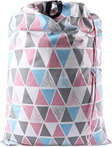 SWISSELITE Heavy Duty Laundry Drawstring Bag with Strap, 28 x 40 Inches Travel Dirty Clothes Bag for Laundromat and Household, 6 Color