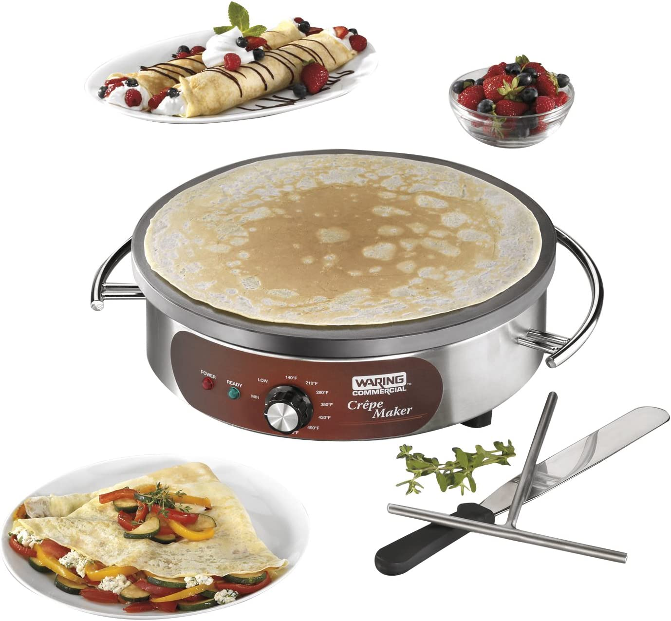Pancakes with Batter Spreader Eggs Proshopping 16 Commercial Electric Crepe Maker 110V- for Blintzes Non Stick Crepe Pan Tortilla Large Pancakes Griddle Machine Stainless steel Home & Kitchen Specialty Appliances kalingauniversity.ac.in