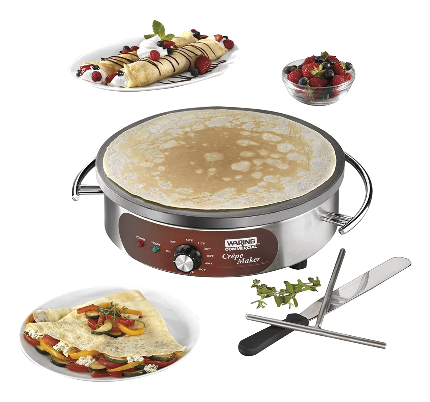 Waring Commercial WSC160X Heavy-Duty Electric Crepe Maker, 16 , Stainless Steel