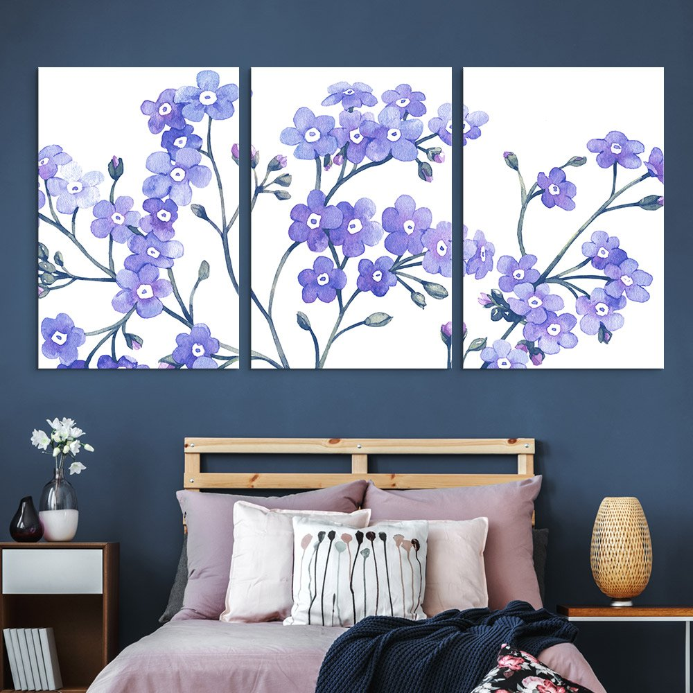 3 Panel Canvas Wall Art - Small Purple Flowers on White Background - Giclee Print Gallery Wrap Modern Home Art Ready to Hang - 16
