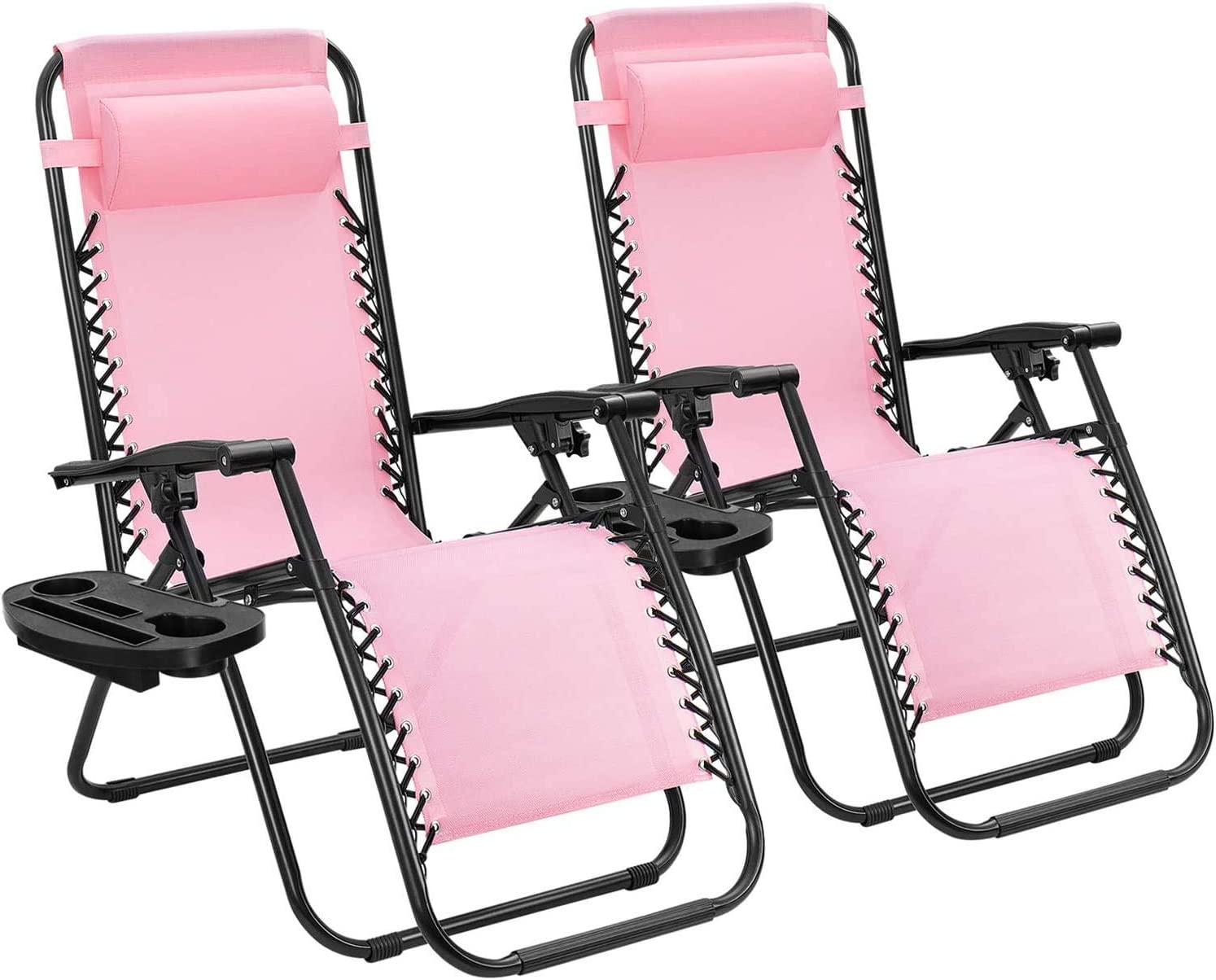 GT-LYD Juego de 2 sillas Ajustables Gravedad Cero sillas Plegables al Aire Libre Patio del salón con sillones reclinables para Almohada Junto a la Piscina, la Playa (Rosa)