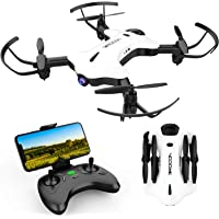 DROCON Ninja Foldable Drone for Kids and Beginners with 720P FPV HD Wi-Fi 90° Rotating Camera with Wide-Angle Lens, Real-time Live Video, Altitude Hold, One-Key Take-Off/Landing, 3D Flips, White