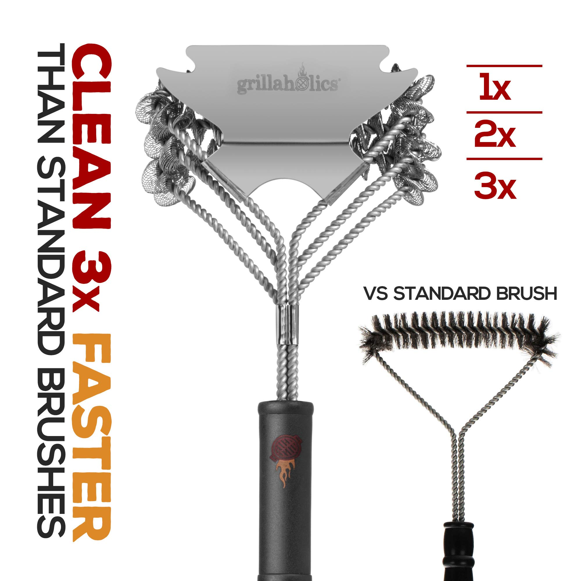 Grillaholics Grill Brush Bristle Free - Safe Grill Cleaning with No Wire Bristles - Professional Heavy Duty Stainless Steel Coils and Scraper - Lifetime Manufacturers Warranty by Grillaholics (Image #6)
