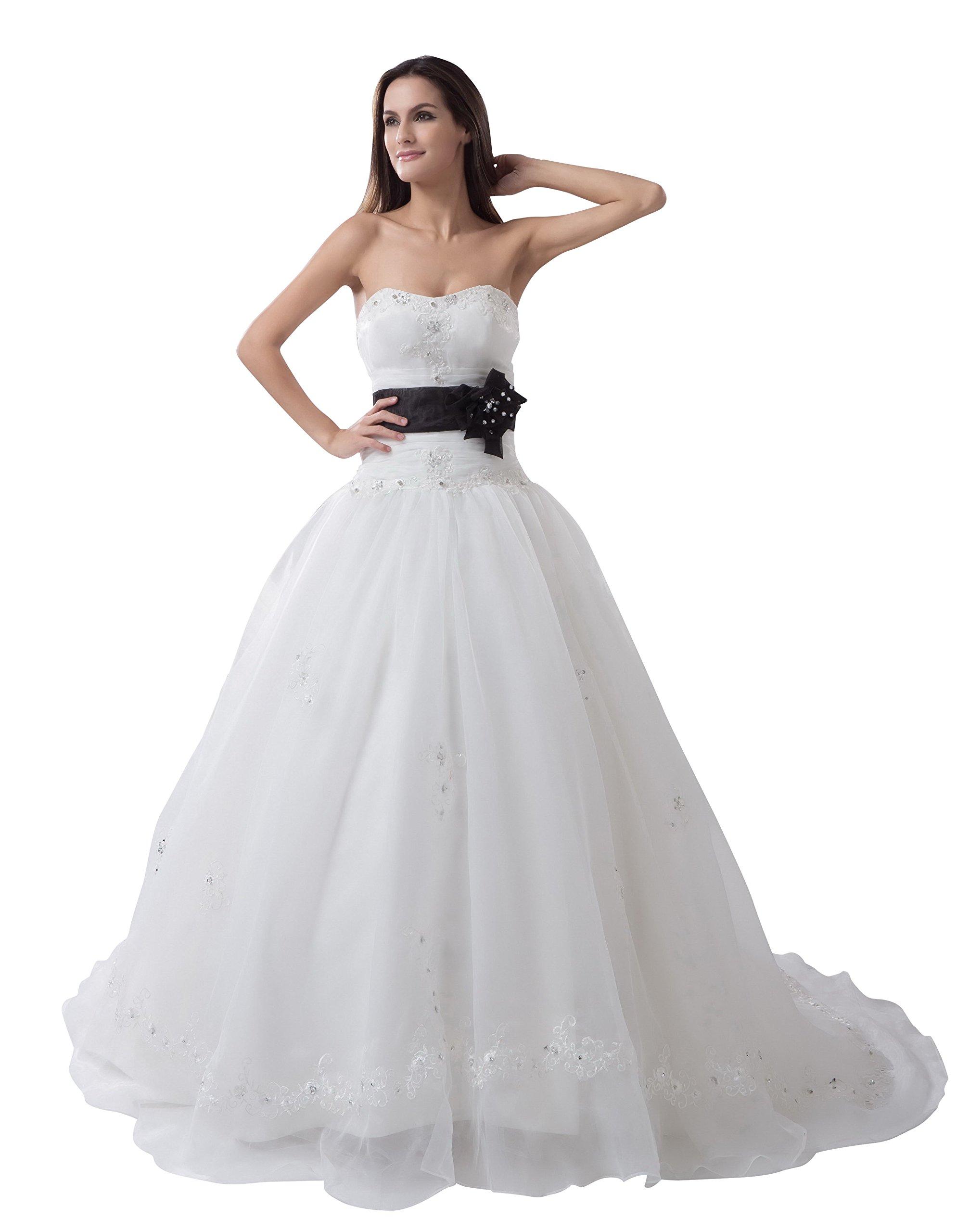 Vogue007 Womens Strapless Taffeta Satin Wedding Dress with Floral, White, 18