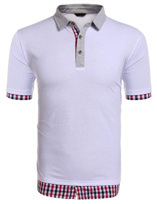 Yealsha Mens White t Shirts Summer Blue Collar Shirt Mens Cotton Polo Shirts Polos