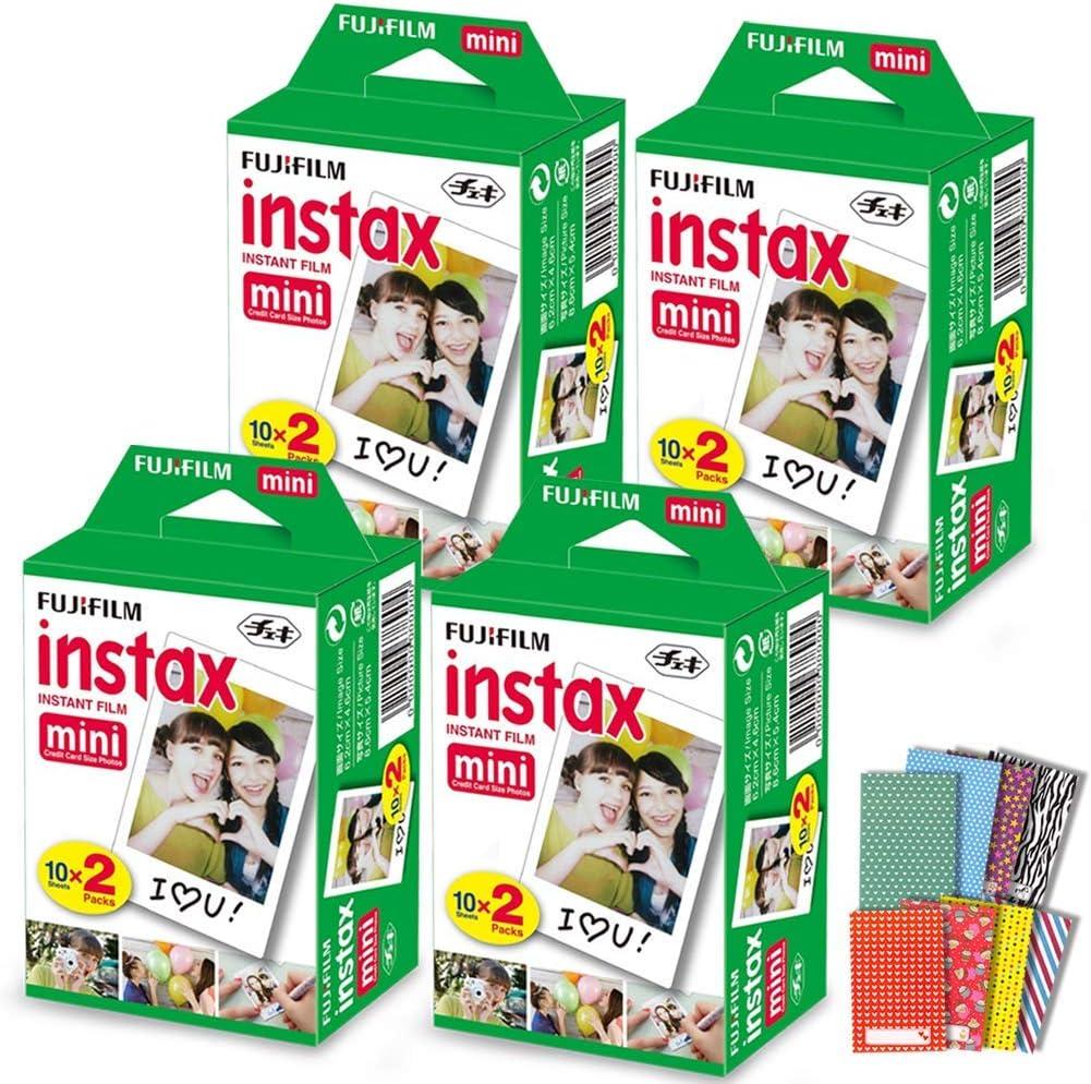 FujiFilm Instax Mini Instant Film 4 Pack (4 x 20) 80 Photo Sheets + 120 Assorted Colorful Mini Photo Stickers - Compatible with FujiFilm Instax Mini 11, 9 and 8 Camera, Fuji SP-1, SP-2, Polaroid Film