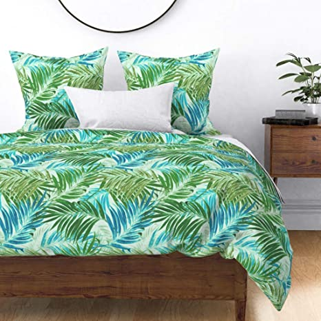 Green Plants Geometric by karismithdesigns Tropical Cotton Sateen Sheet Set Bedding by Spoonflower Watercolor Leaves Sheets