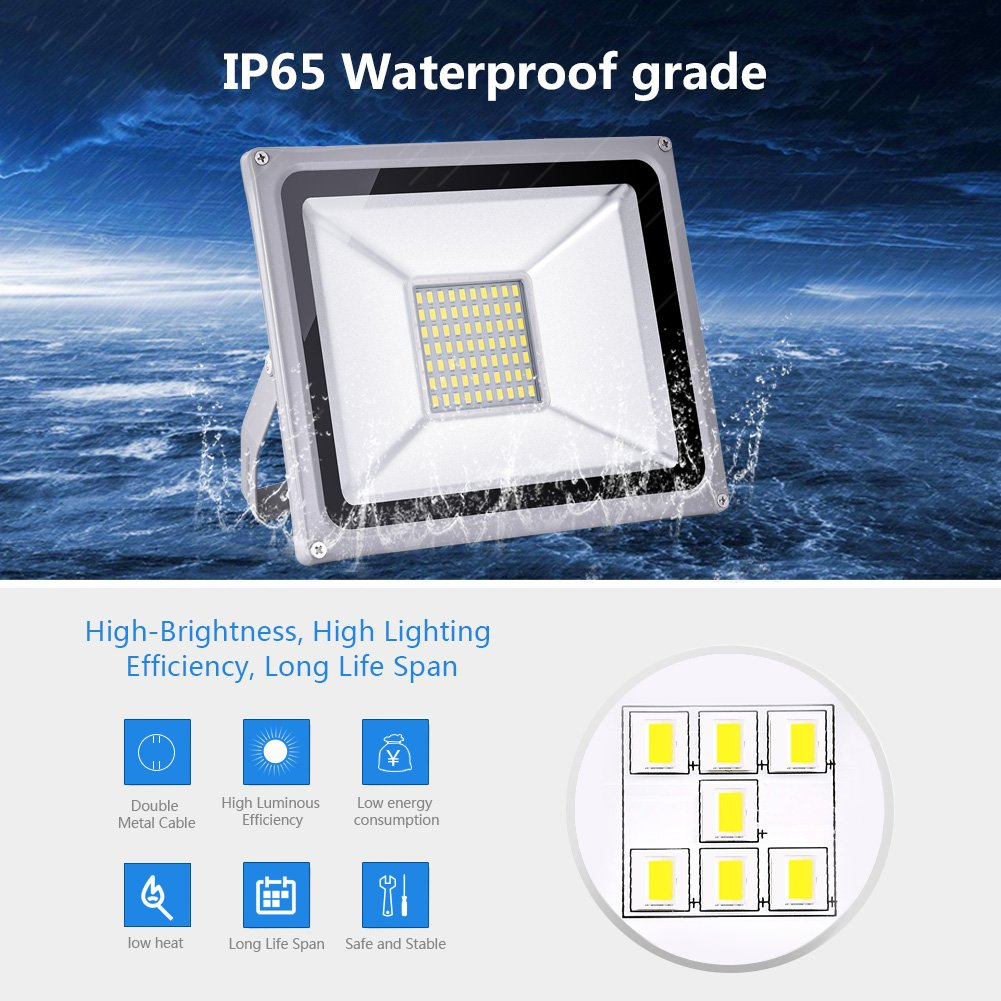 Cold White, 50W 50w Led Flood Light Outdoor IP65 Waterproof led Light Bulbs High Power Equivalent Super Bright Security Lights Floodlight Landscape Wall Lights by Coolkun