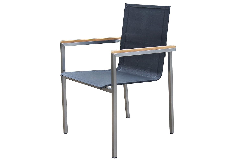 OUTFLEXX stilvoller Stuhl in schwarz aus solidem Edelstahl, Sitzfläche aus hochwertiger Textilene und Armlehnen aus FSC-Teakholz, ca. 67 x 56 x 88 cm, korrosionsbeständig und pflegeleicht