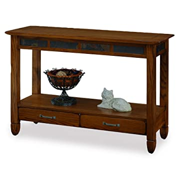 Slatestone Oak Storage Console Table   Rustic Oak Finish