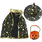 Halloween Costumes Assistent Sterne Mantel, Hut, Kostüm Hexe, Kürbis-Tasche für Kinder Mädchen Jungen