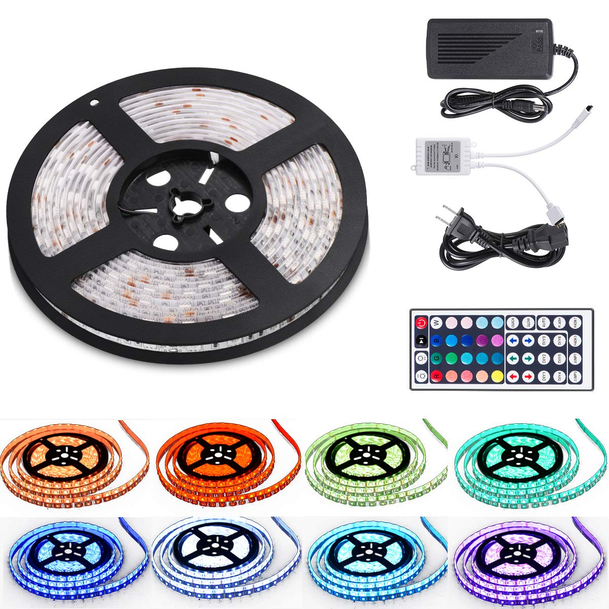 16.4ft LED Flexible Light Strip,12V DC Waterproof Flexible Light Strips, RGB 300 LEDs SMD 5050 Light Strip Kit with 44Key Remote Controller,Power Supply for Kitchen Bedroom Car Party