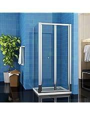 ELEGANT Bifold Shower Enclosure Cubicle Door Glass Side Panel Stone Tray