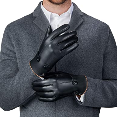 Luxury Dress Napa Leather Winter Gloves - Texting - Touchscreen – Cold  Weather - Driving – Waterproof - Fleece Liner at Amazon Men's Clothing store