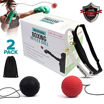 Boxing Reflex Ball Bundle for 2 - React Reflex Ball For Speed Training -  Reaction Punching Balls On String, Punch Headband Fight Equipment For