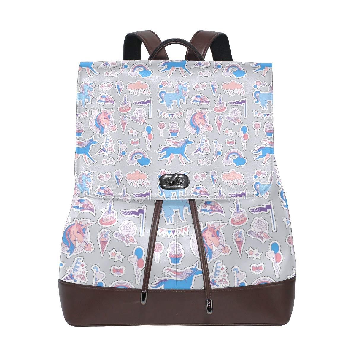 Leather Unicorn Multicolor Backpack Daypack Bag Women