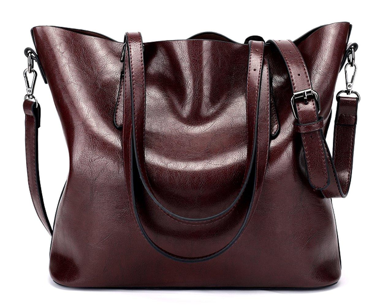 Dreubea Women's Soft Leather Handbag Hobo Crossbody Purse Tote Shoulder Bag Dark Red