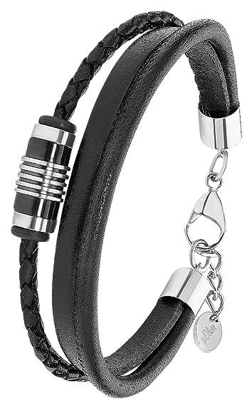 auf Füßen Bilder von neue bilder von berühmte Designermarke S.Oliver Herren Armband IP BlackBeschichtung Edelstahl Leder 2012597 22 cm