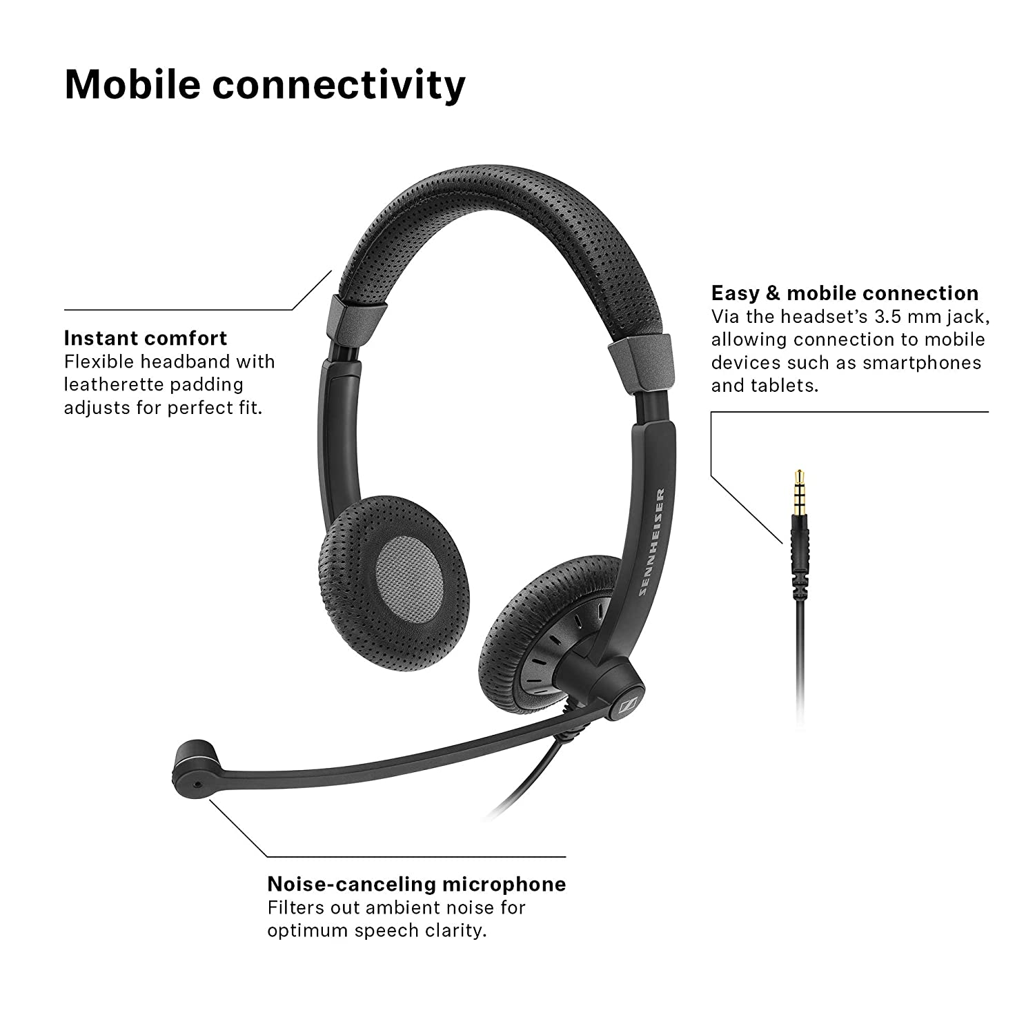 48a07672276 Amazon.com: Sennheiser SC 75 (507085) - Double-Sided Business Headset | For  Mobile Phone and Tablet | with HD Sound & Noise-Cancelling Microphone  (Black): ...