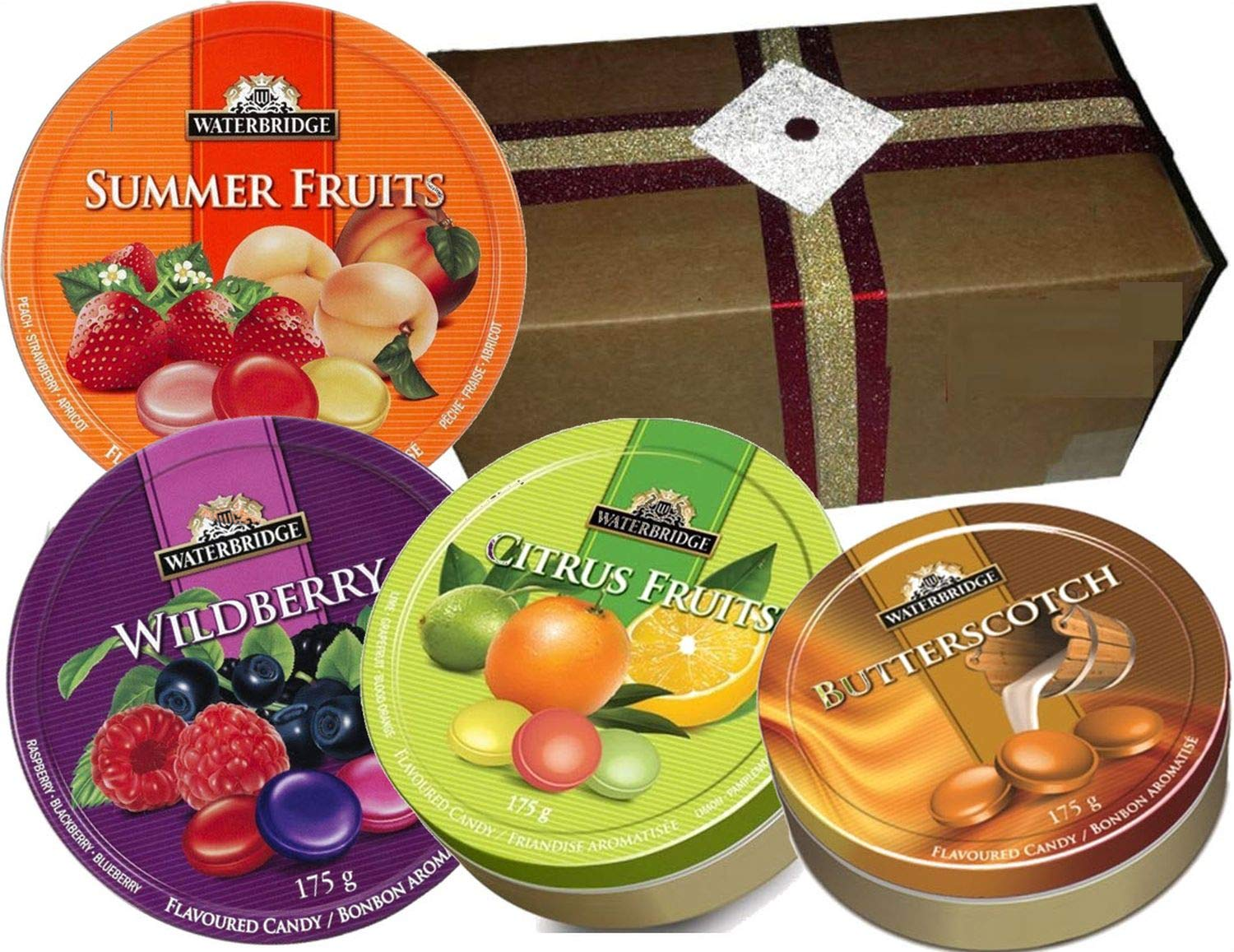 CDM product Festive Waterbridge European Candy Gold Tins Assortment packed in a specially designed Gift Box (Butterscotch - Citrus - Summer Fruits - Wildberry, 4 Round Tins) big image