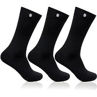 Bonjour Mens Cotton Black Crew Length 3 Pair Ribbed Socks_BRO121ME-PO3