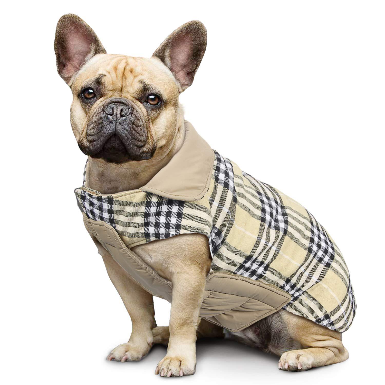 Manteau à carreaux réversible pour chien Automne Hiver Gilet confortable et confortable Manteau à rembourrage pour chien de style britannique pour petits et grands chiens de taille moyenne Rouge-M Wooce