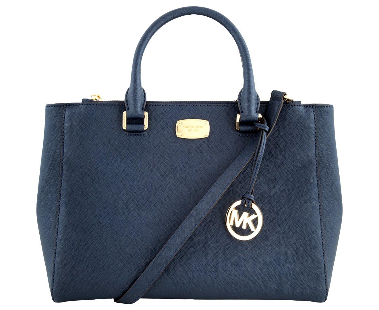 20656665ff44 Galleon - MICHAEL KORS WOMEN S KELLEN MEDIUM SATCHEL LEATHER Shoulder  Handbags (Navy)