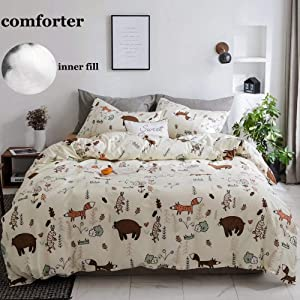 CLOTHKNOW Kids Bear Comforter Sets Twin Yellow Cartton Bedding Sets for Boys Girls Woodland Theme Girls Boys Gift Fox Animal Forest Quilt Set Child Bedding Comforter Sets with 2 Pillowcases