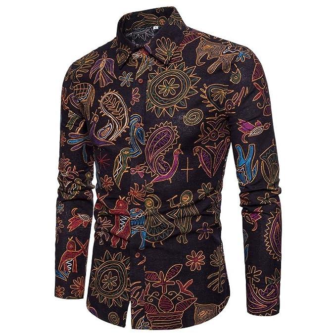 7e62c0aaa39fa VEMOW Herbst Frühling Winter Persönlichkeit Business Hem Männer Casual  Schlank Langarm Gedruckt Tägliche Party Workout Formale Mode Shirt Top  Bluse  ...