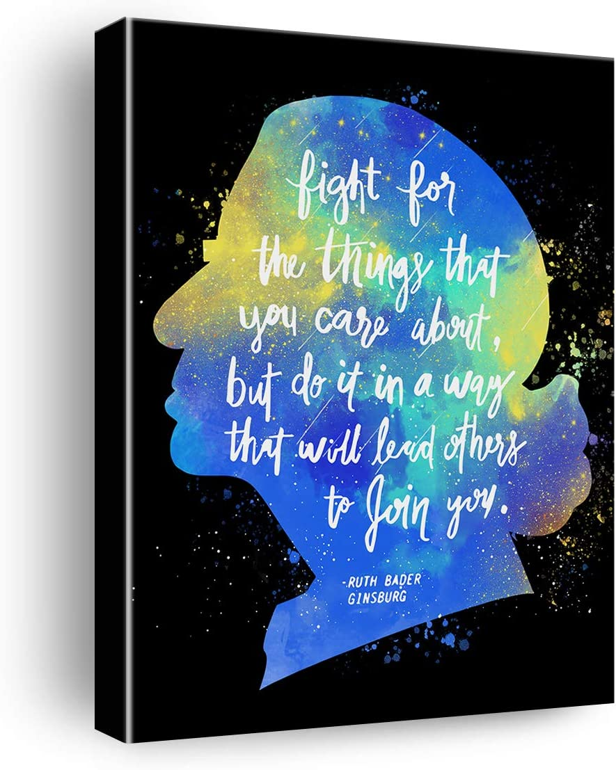Inspirational Fight for The Things That You Care AboutRuth Bader Ginsburg Quote Poster Canvas Wall Art & Tabletop Decoration,Ruth Bader Ginsburg Feminist Motivational Canvas Prints for Home Decor,Easel & Hanging Hook 8x10Inch
