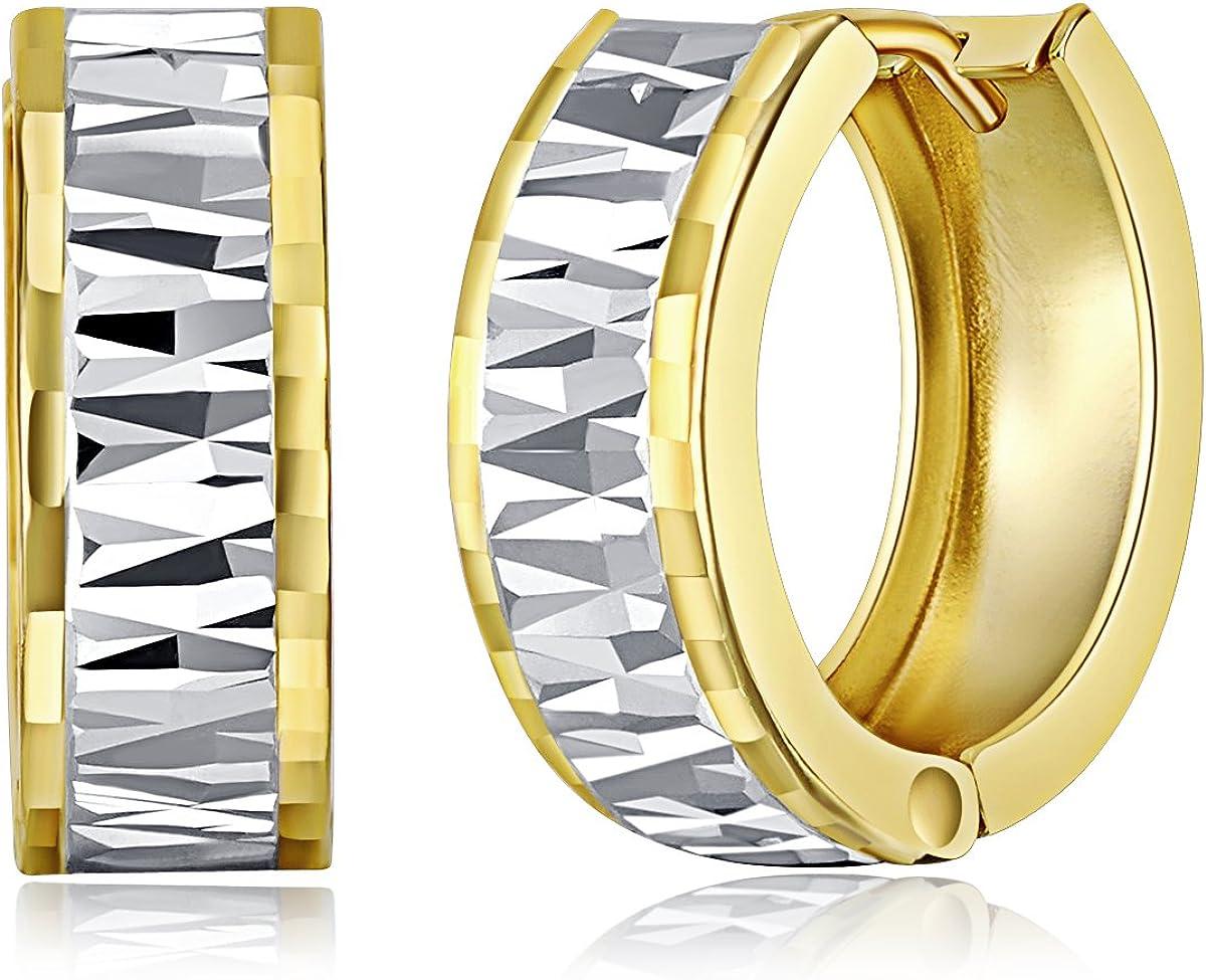 Wellingsale Ladies 14k Two Tone Gold 5mm Hoop Huggies Earrings (15 x 15 mm)