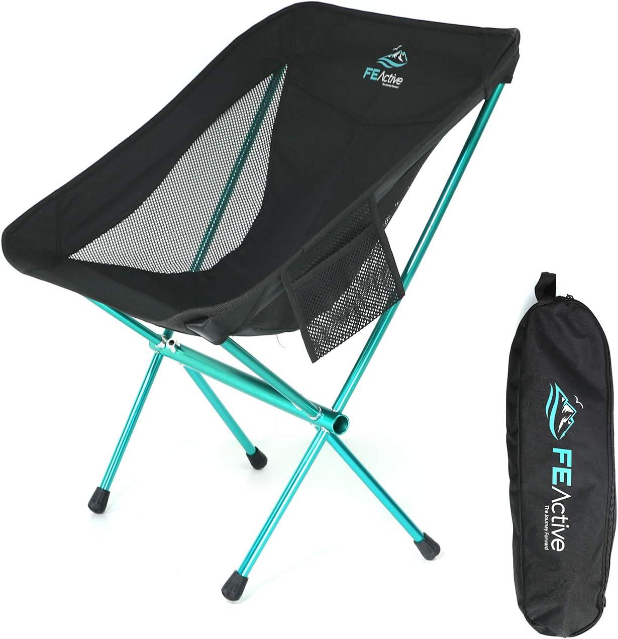 FE Active Silla de Camping Plegable - Silla para Exteriores Compacta, Ligera y Portátil. Silla de Camping para Adultos y Niños. Ideal para Viajes, Mochileros, Pesca, Playa | Diseñada en California