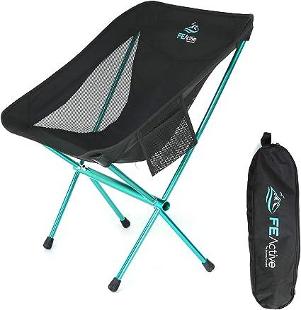 FE Active Silla de Camping Plegable - Silla para Exteriores Compacta, Ligera y Portátil. Silla de Camping para Adultos y Niños. Ideal para Viajes, ...