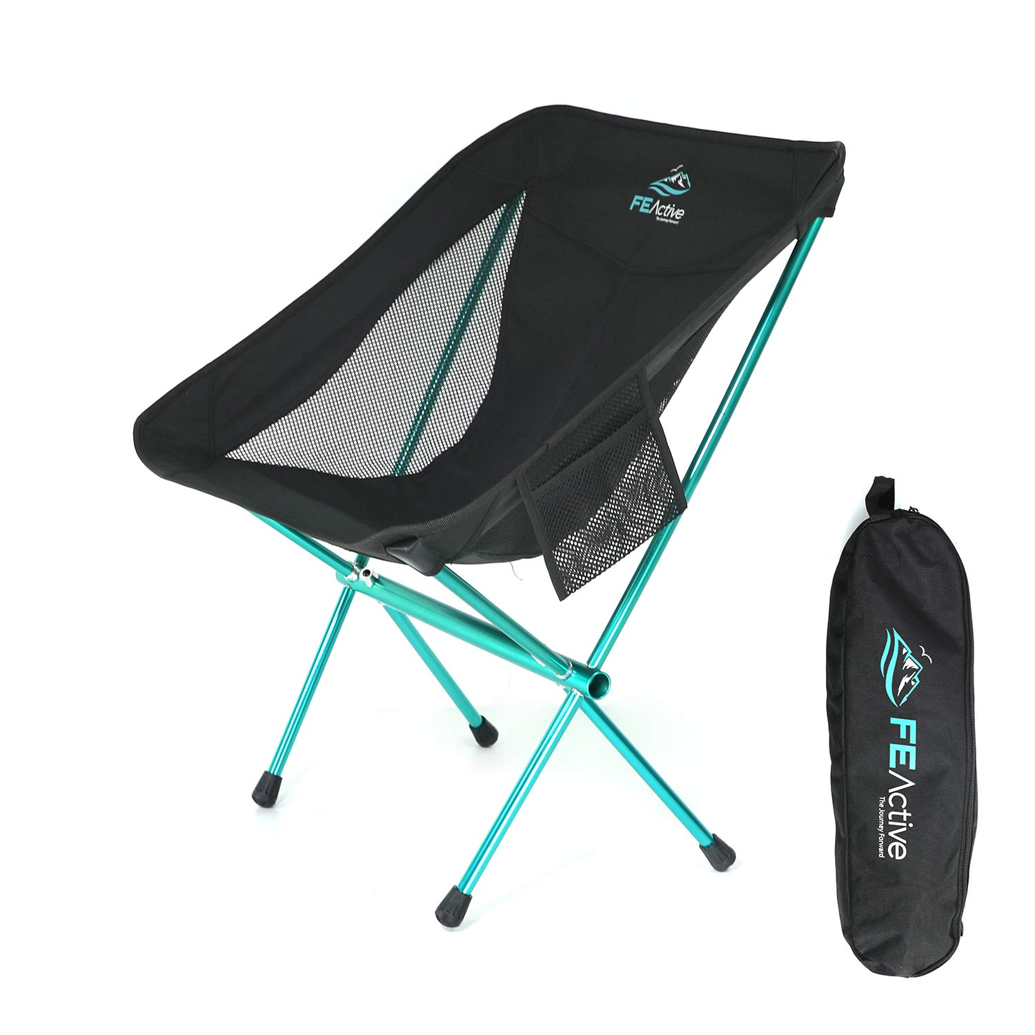 FE Active – Compact Folding Chair Built with Full Aluminum Designed as Ultralight Portable Camping Chair for Beach, Hiking, Trekking, Backpacking, Camping, Sports Games Designed in California, USA